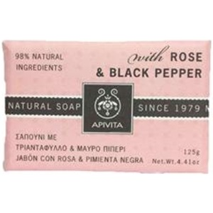 APIVITA Natural Soap With Rose And Black Pepper 125gr < Erp