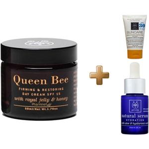 Apivita Queen Bee Συσφιγκτική και Επανορθωτική Κρέμα Hμερας SPF15 50ml & Natural Serum 15ml & Suncare SPF30 15ml < Erp