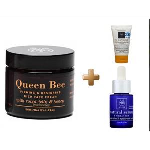 Apivita Queen Bee Συσφιγκτική και Επανορθωτική Κρέμα Hμερας πλούσιας υφής 50ml & Natural Serum15ml & Suncare SPF30 15ml  < Erp