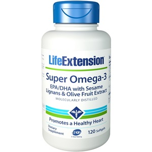 Life Extension Super Omega 3 with EPA/DHA with Sesame Lignans Olive, 120 caps  < Erp
